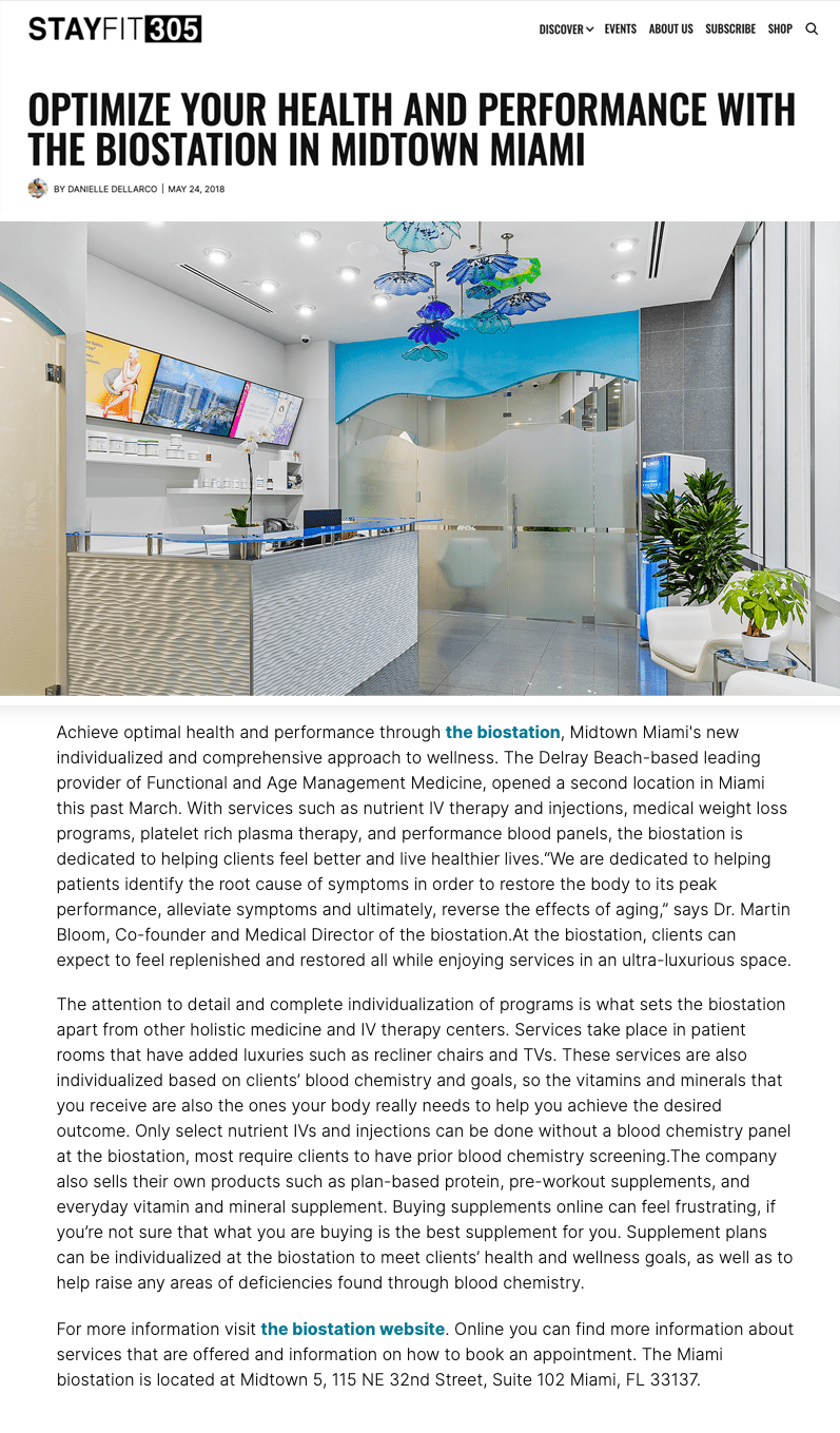 Optimize Your Health and Performance with the biostation in Midtown Miami   the biostation